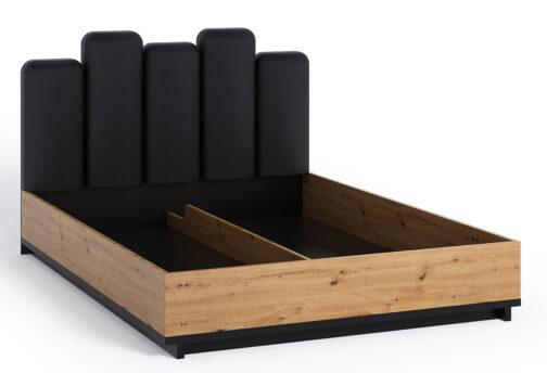 Łóżko INES IN11 z tapicerowanym zagłówkiem i pojemnikiem na pościel