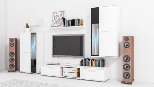 Meblościanka SALSA biały - zestaw mebli SALSA: witryny, szafka RTV, półka