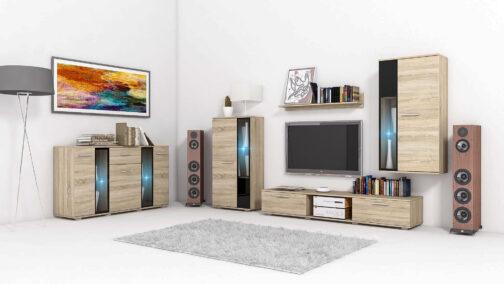 Meblościanka SALSA Dąb Sonoma - zestaw mebli SALSA: witryny, szafka RTV, półka, komoda