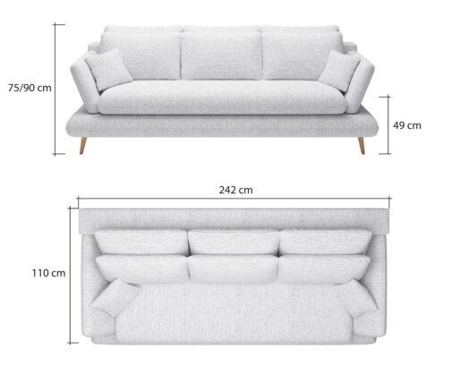 Sofa MONTE - wymiary