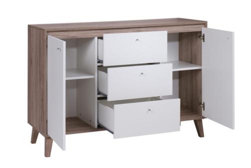 Skandynawska komoda OVIEDO z szufladami i półkami