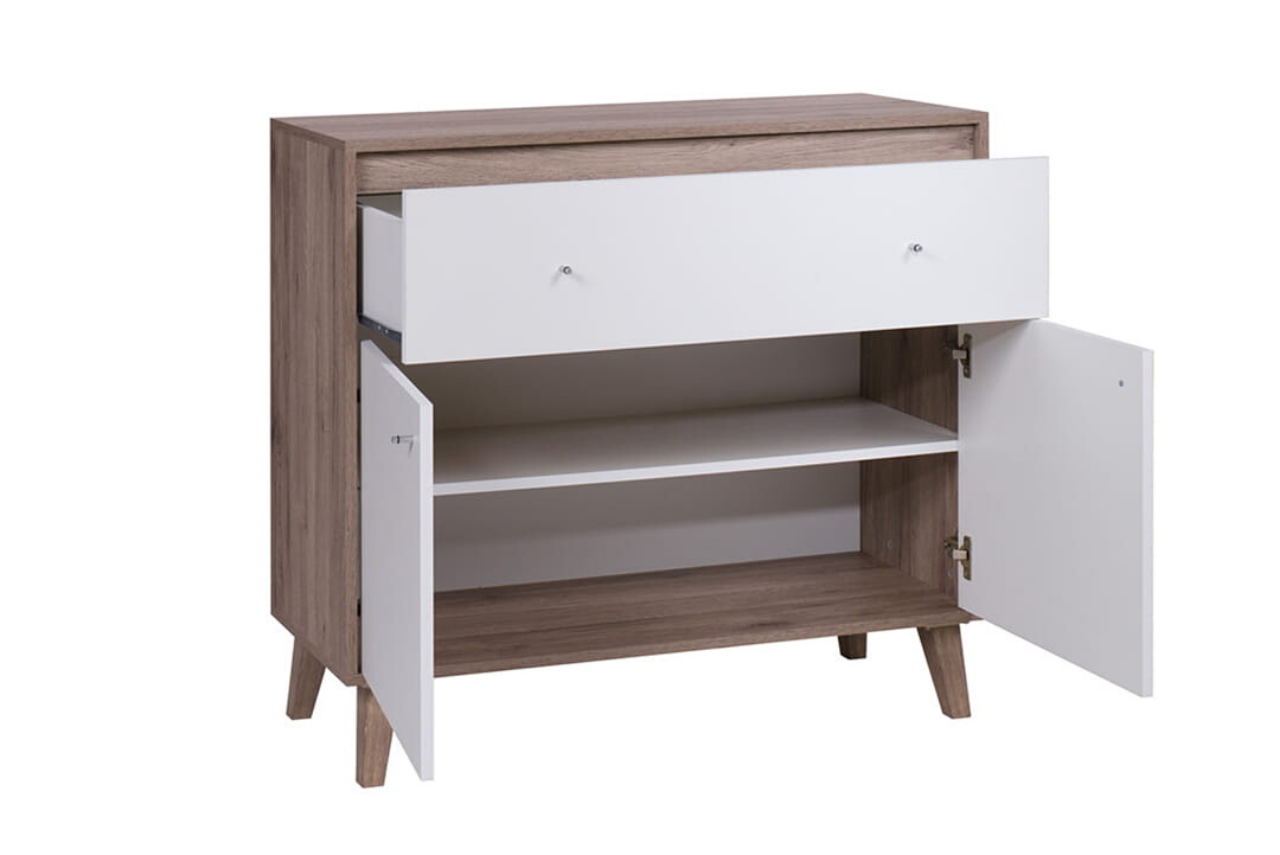 Skandynawska komoda OVIEDO z szufladą i półkami