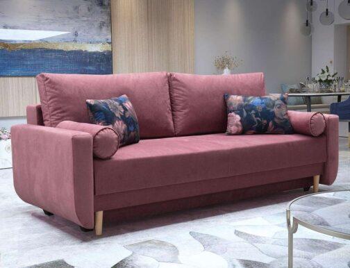 Skandynawska sofa BLOSSOM z funkcją spania i pojemnikiem na pościel