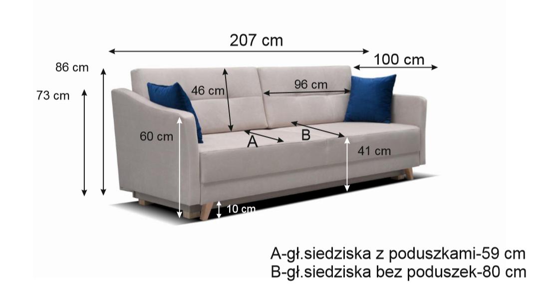 Skandynawska sofa VALENTINO z funkcją spania i pojemnikiem na pościel