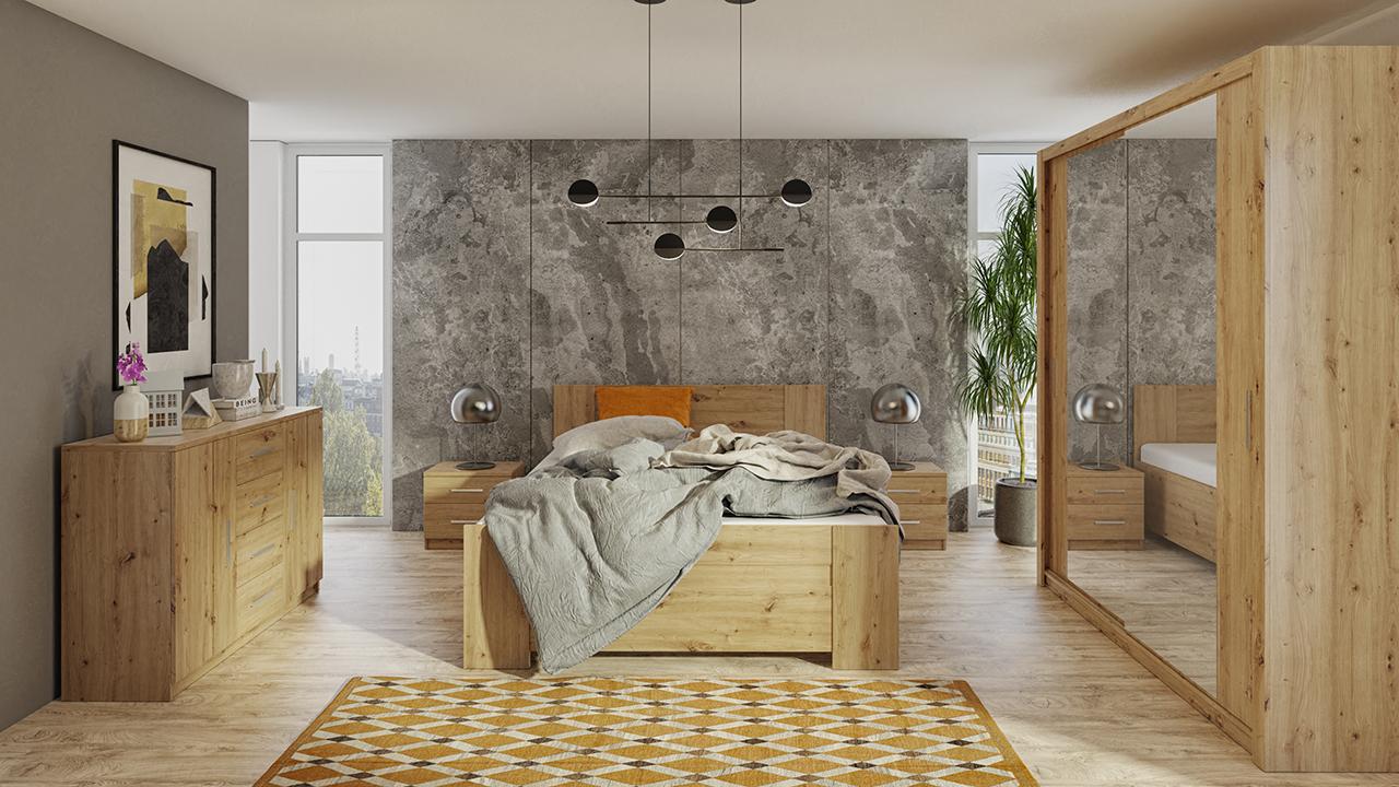 Zestaw do sypialni BONO 180 Dąb Artisan łóżko, komoda, szafa, stoliki nocne