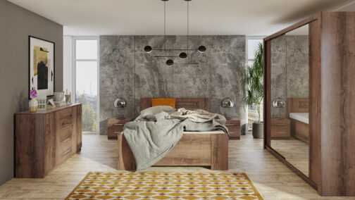 Zestaw mebli BONO 180 Dąb Monastery łóżko, komoda, szafa, stoliki nocne