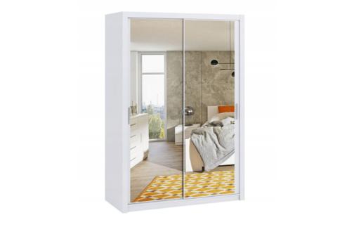 Szafa BONO 150 z lustrem Biała z półkami i drążkami