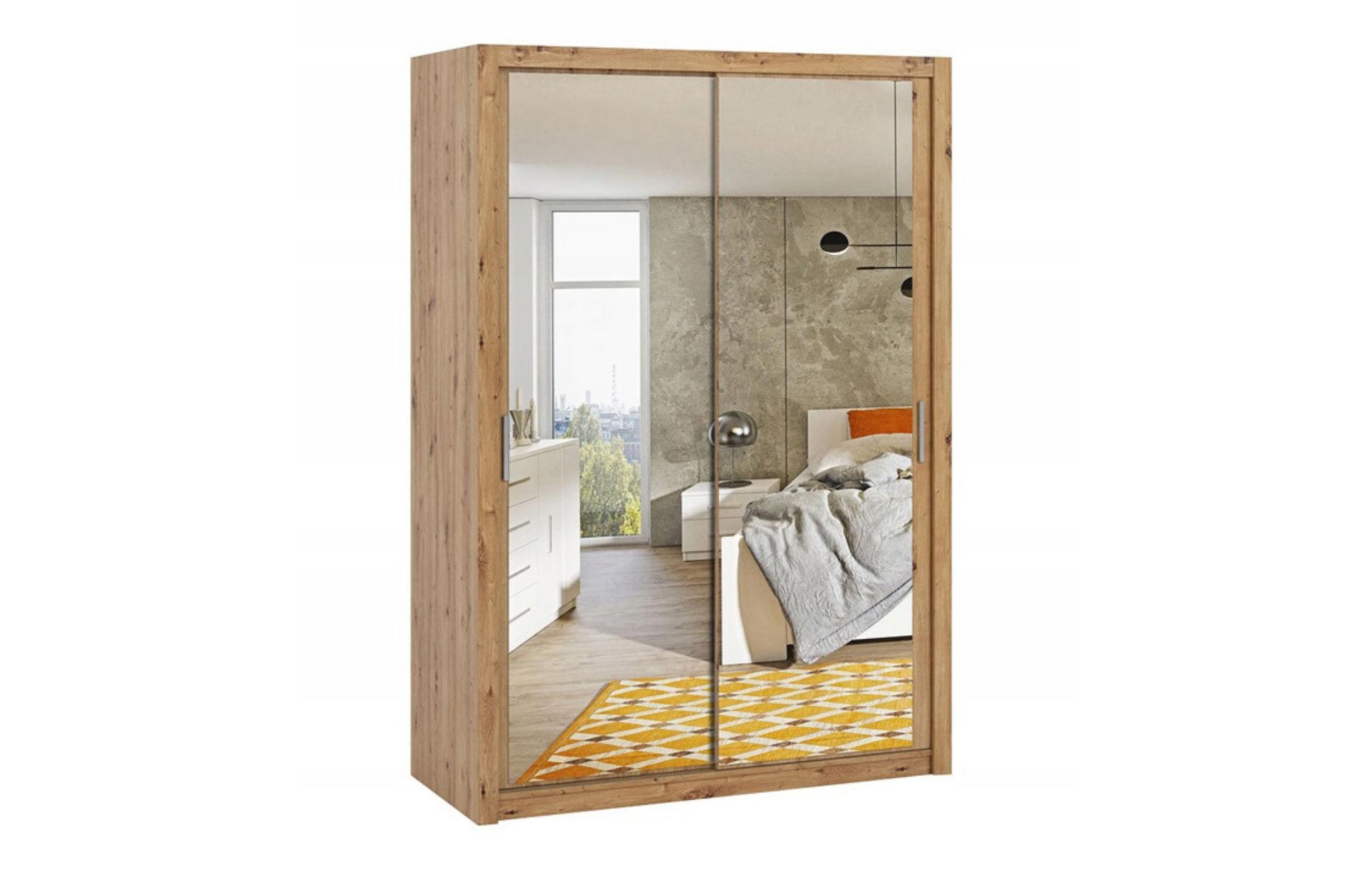 Szafa BONO 150 z lustrem Dąb Artisan z półkami i drążkami