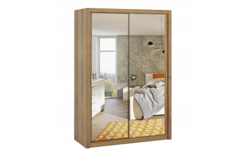 Szafa BONO 150 z lustrem Dąb Złoty z półkami i drążkami