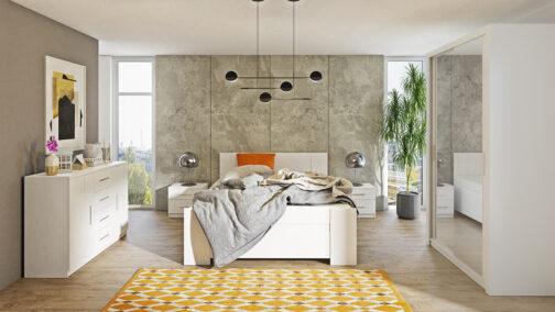 Zestaw mebli BONO 120 Biały szafa 120 komoda łóżko stoliki nocne