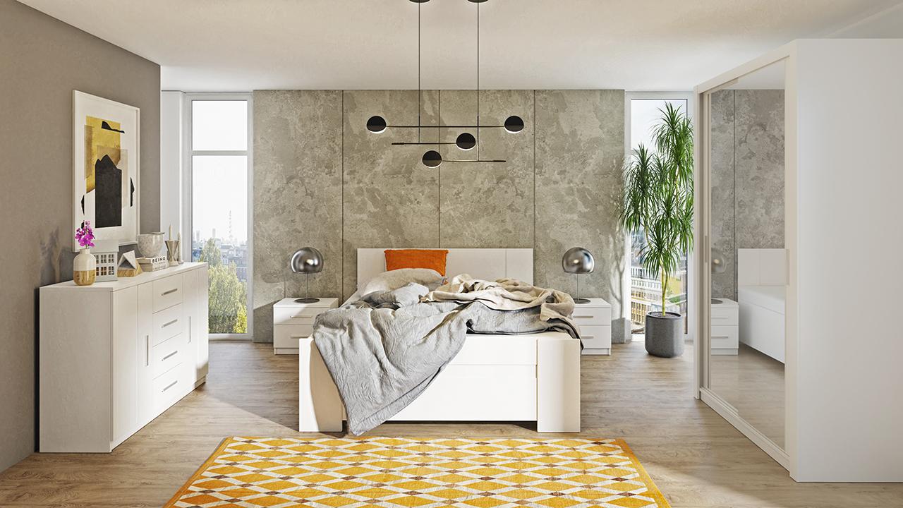Zestaw do sypialni BONO 120 Biały szafa 120 komoda łóżko stoliki nocne