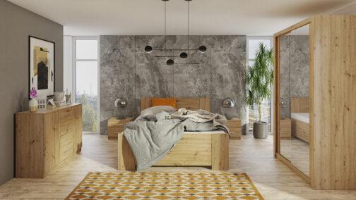 Zestaw mebli BONO 120 Dąb Artisan szafa 120 komoda łóżko stoliki nocne
