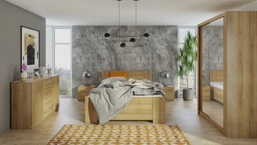 Zestaw mebli BONO 120 Dąb Złoty szafa 120 komoda łóżko stoliki nocne