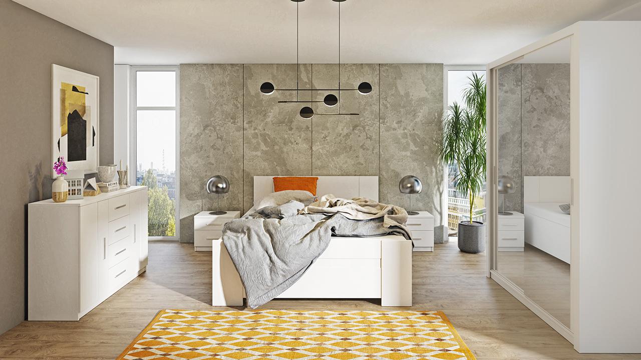Zestaw do sypialni BONO 150 Biały szafa 150 komoda łóżko stoliki nocne