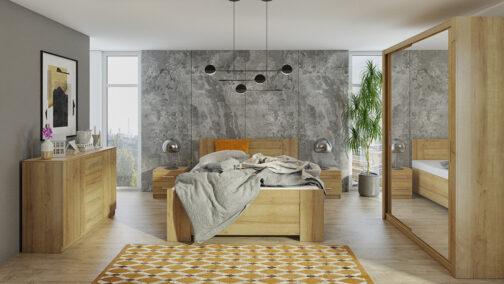 Zestaw mebli BONO 150 Dąb Złoty szafa 150 komoda łóżko stoliki nocne
