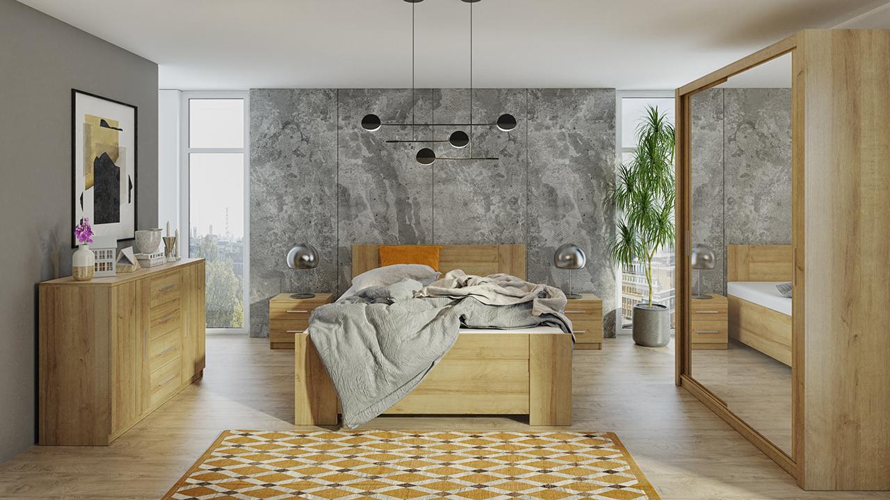 Zestaw do sypialni BONO 150 Dąb Złoty szafa 150 komoda łóżko stoliki nocne