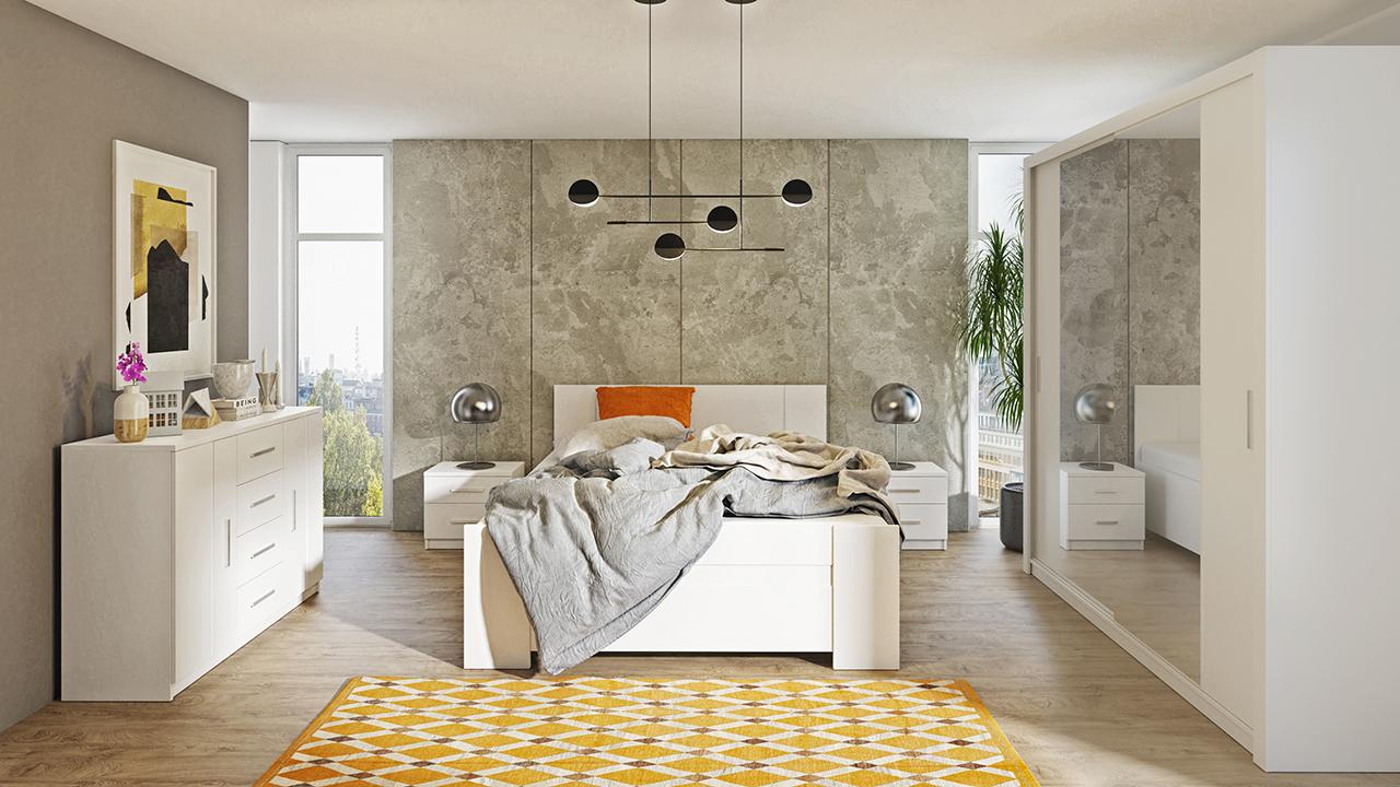 Zestaw mebli BONO 200 Biały łóżko, komoda, szafa, stoliki nocne