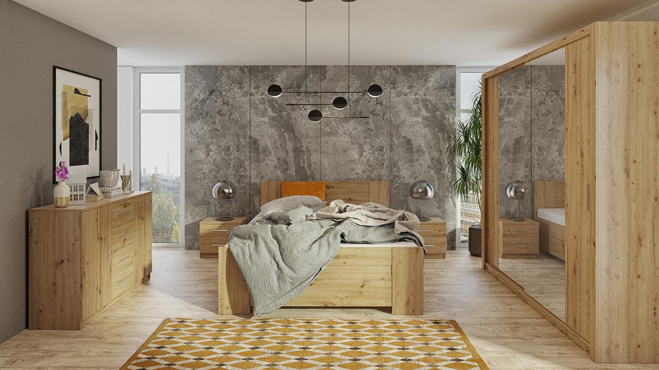 Zestaw do sypialni BONO 200 Dąb Artisan łóżko, komoda, szafa, stoliki nocne