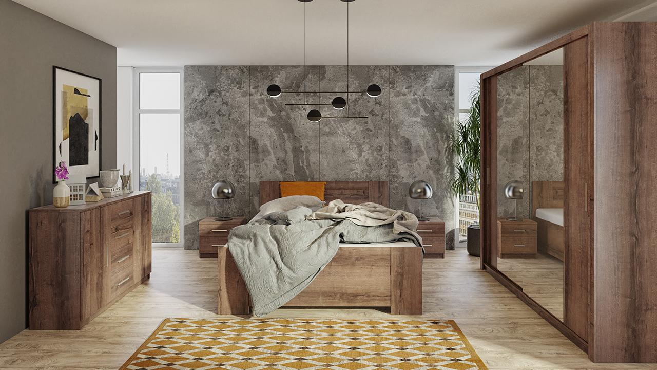 Zestaw do sypialni BONO 200 Dąb Monastery łóżko, komoda, szafa, stoliki nocne