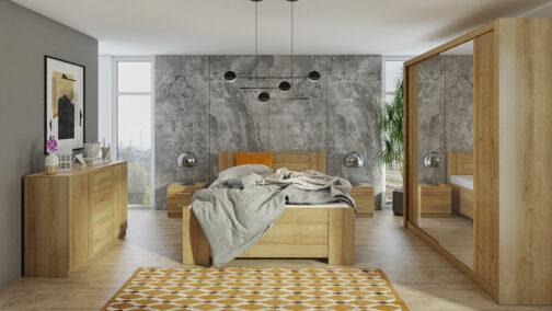 Zestaw mebli BONO 200 Dąb Złoty łóżko, komoda, szafa, stoliki nocne