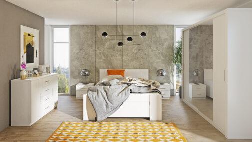 Zestaw mebli BONO 220 Biały łóżko, komoda, szafa, stoliki nocne