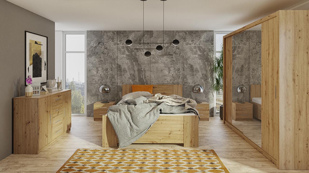 Zestaw mebli BONO 220 Dąb Artisan łóżko, komoda, szafa, stoliki nocne