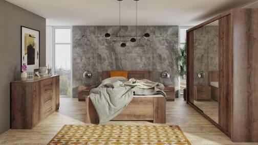 Zestaw mebli BONO 220 Dąb Monastery łóżko, komoda, szafa, stoliki nocne