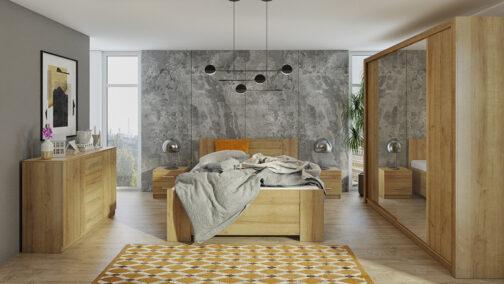 Zestaw mebli BONO 220 Dąb Złoty łóżko, komoda, szafa, stoliki nocne