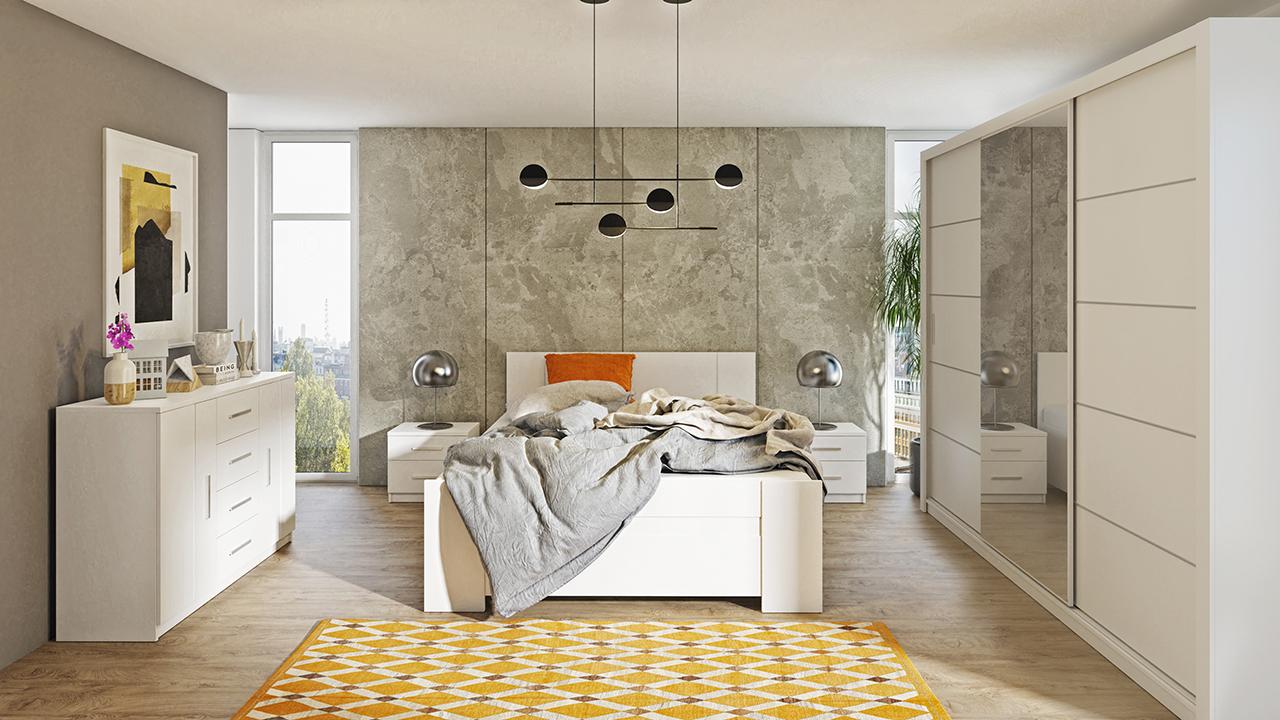 Zestaw mebli BONO 250 Biały łóżko, komoda, szafa, stoliki nocne