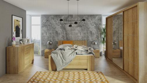 Zestaw mebli BONO 250 Dąb Złoty łóżko, komoda, szafa, stoliki nocne