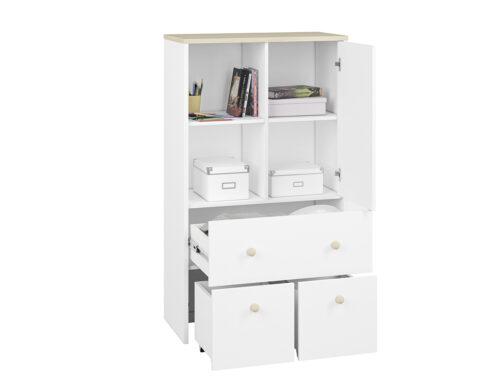 Komoda CESAR CS08 ELMO do pokoju dziecięcego biała z otwartą półką, zamykanym frontem, szufladą i przesuwnymi kontenerkami