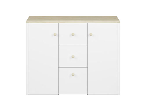 Komoda CESAR CS09 ELMO do pokoju dziecka biała z szufladami i pojemnymi półkami