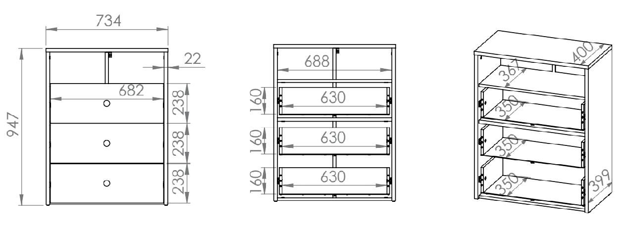 Komoda CESAR CS11 ELMO do przewijaka biała z 3 szufladami i otwartą półką pod blatem