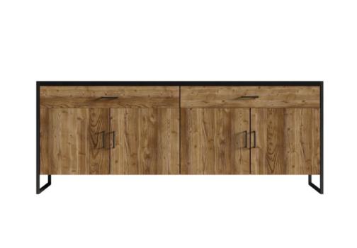 Komoda TARABO WM TR25 w stylu industrialnym z szufladami i zamykanym frontem Appenzeller Fichte / czarny mat
