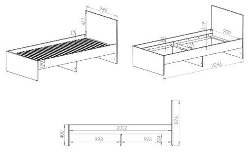 Łóżko CESAR CS14 ELMO 90 cm do pokoju dziecięcego z wysuwanymi szufladami i zagłówkiem