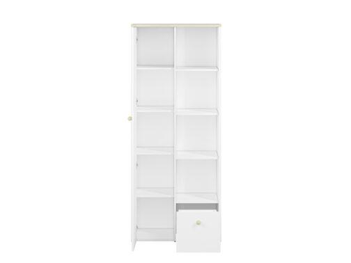 Regał CESAR CS04 ELMO biały z półkami, szufladą i zamykanym frontem