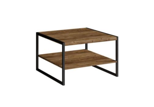 Stolik kawowy TARABO WM TR99 w industrialnym stylu z półką pod blatem Appenzeller Fichte / czarny mat