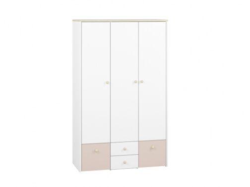 Szafa CESAR CS01 ELMO 01 trzydrzwiowa do pokoju dziecięcego z półkami, drążkiem i wysuwanymi szufladami