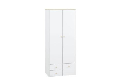 Szafa CESAR CS02 ELMO 02 dwudrzwiowa biała do pokoju dziecięcego z półką, drążkiem i wysuwanymi szufladami