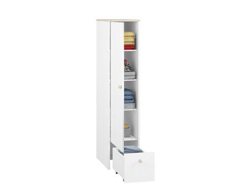 Szafa CESAR CS06 ELMO wąska biała z pojemnymi półkami i wysuwaną szufladą
