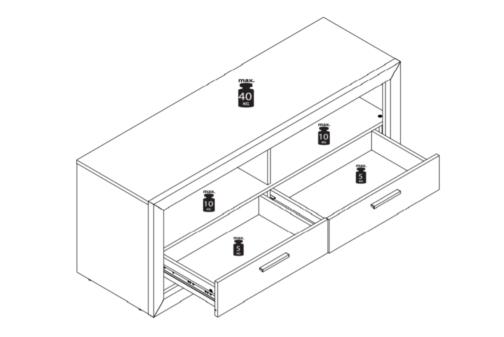 Szafka RTV FIORD FR13 Baltica z 2 pojemnymi szufladami i 2 otwartymi półkami Dąb Lefkas