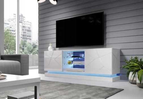 Szafka RTV QIU 160 biały połysk MDF o oświetlaną półką