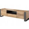 Szafka RTV WOOD w industrialnym stylu z szufladą i zamkniętymi frontami pobokach Dąb Wotan + Antracyt