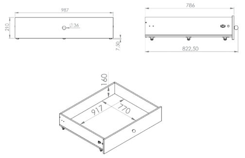 Szuflada pod łóżko CESAR CS19 ELMO biała 99 cm