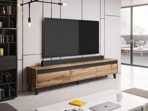 Szafka RTV NORD w industrialnym stylu z szufladami Dąb Wotan + Antracyt