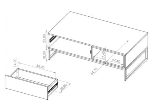 Ława OLIER OL5 biała w industrialnym stylu drewno metal