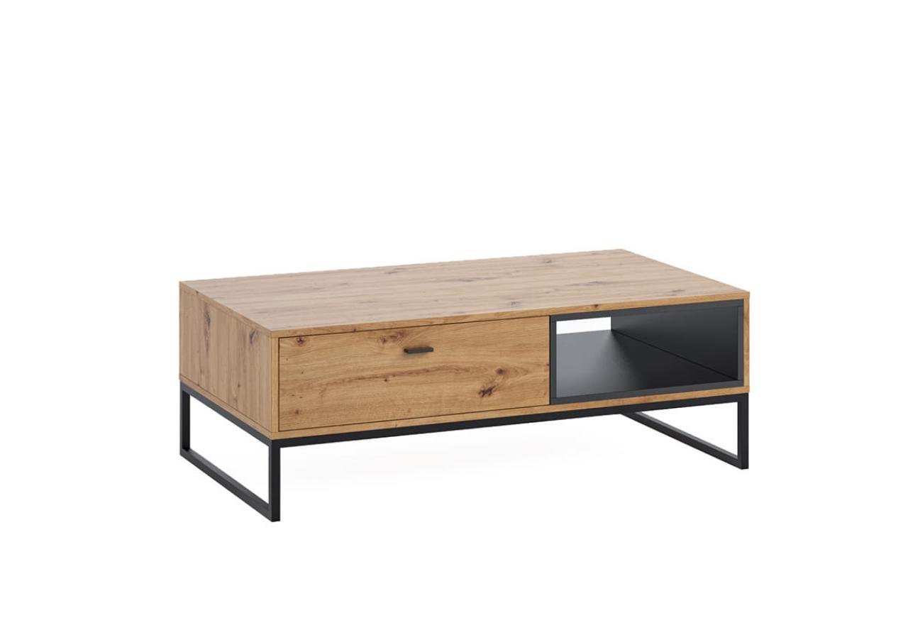 Ława OLIER OL5 stolik kawowy dąb artisan w industrialnym stylu drewno metal
