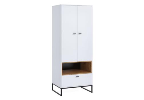 Szafa OLIER OL8 dwudrzwiowa z szufladą biała w industrialnym stylu drewno metal