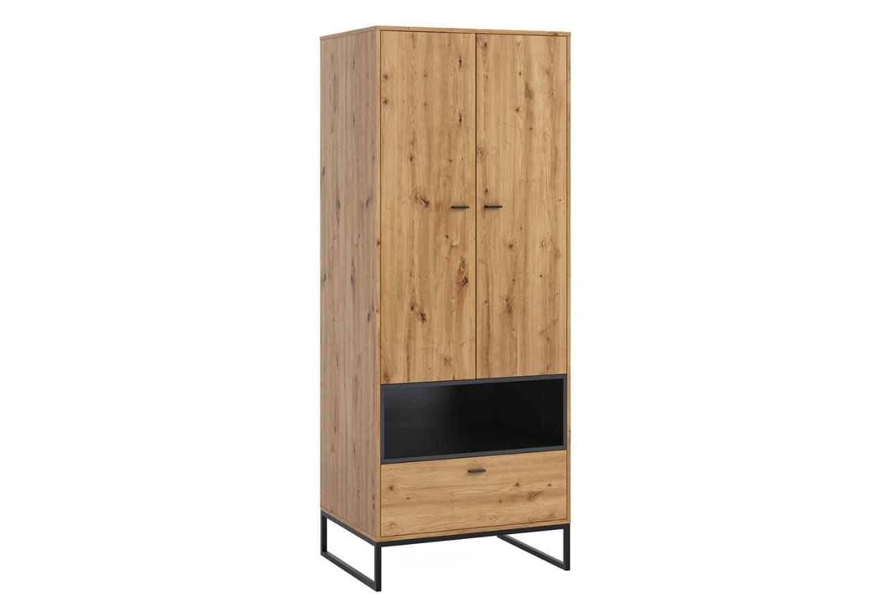 Szafa OLIER OL8 dwudrzwiowa z szufladą dąb artisan w industrialnym stylu drewno metal
