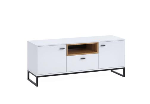 Szafka RTV OLIER OL7 biała w industrialnym stylu drewno metal